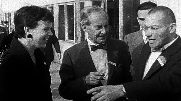 "Inge Scholl, Walter Gropius, and Max Bill at the inauguration of the Design College Ulm 1955. Image from the documentary film ""Max Bill, das absolute Augenmass"" directed by Erich Schmid.Click above to see larger image."