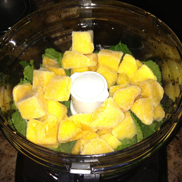 Mango, Mint, & lime juice ice cubes for quick mojito's! Combine all ...