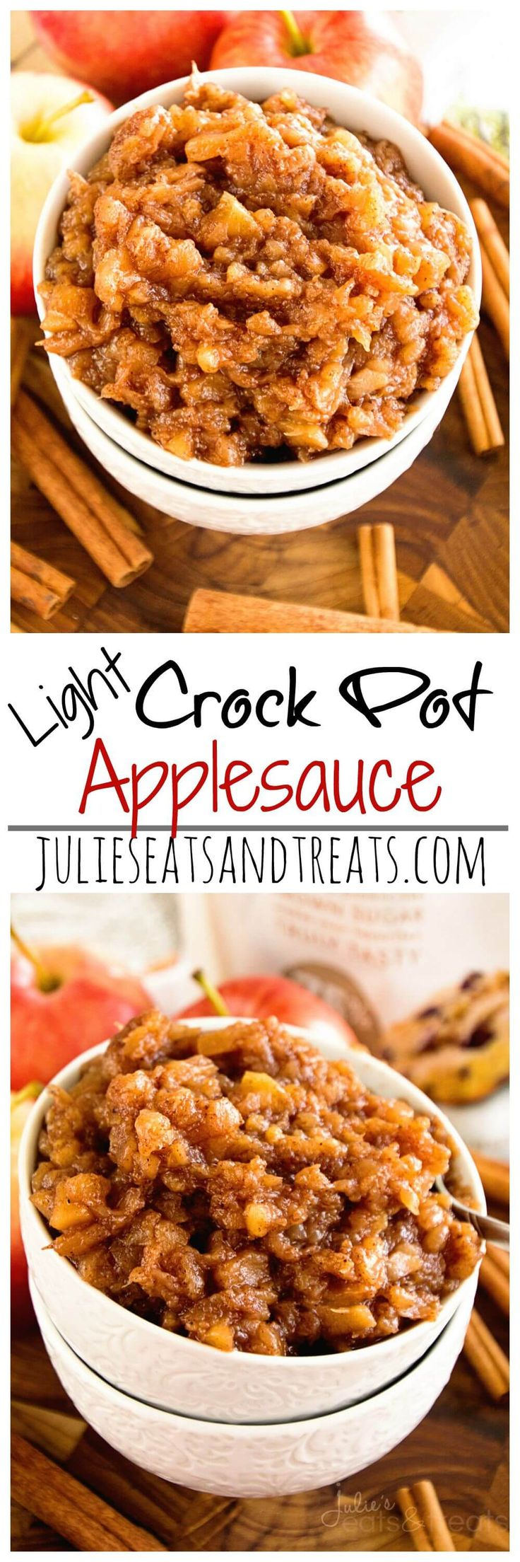Light Crock Pot Applesauce Recipe ~ Delicious, Easy Applesauce that is slow cooked! Loaded with all the flavors of fall! ~ http://www.julieseatsandtreats.com