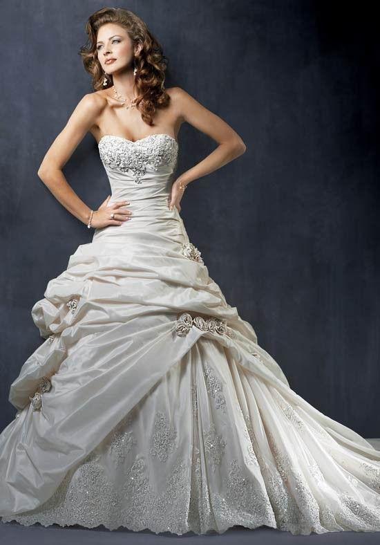 Delicate Sweetheart Flower Beads Working Flower Taffeta Ball Gown Wedding Frocks - Wedding Dresses