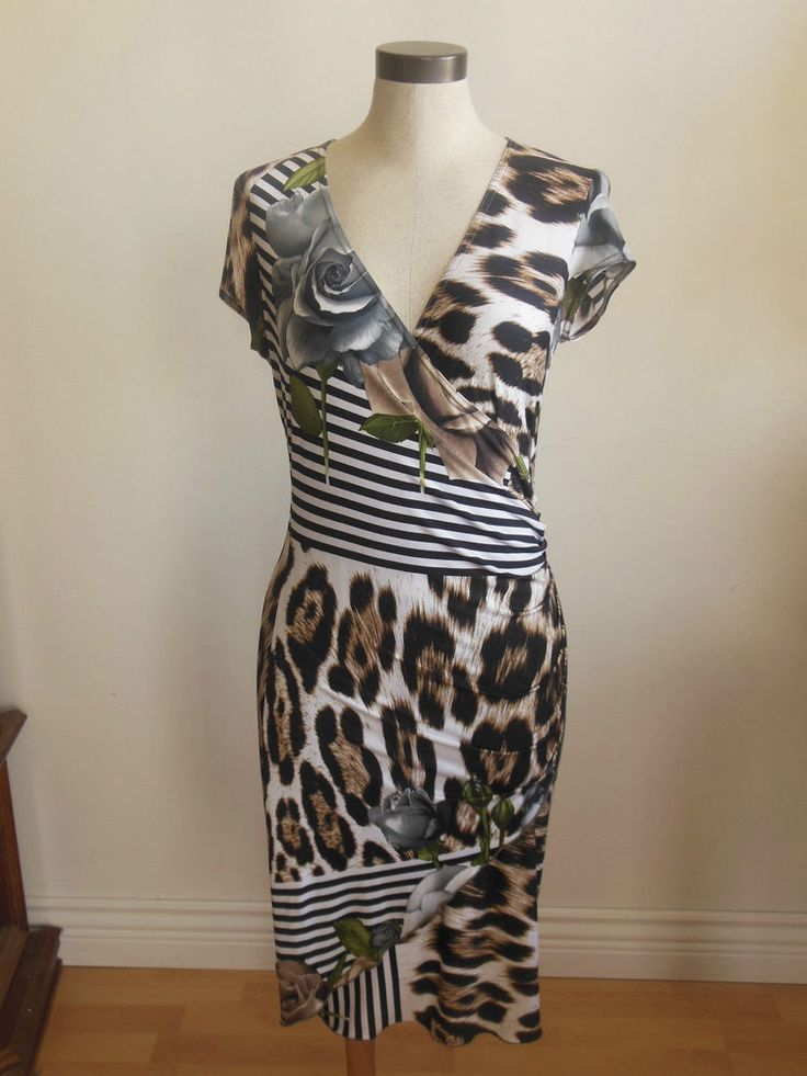 Joseph Ribkoff Dress Animal Prints with Flowers and Stripes Cap Sleeves Size 8 #JosephRibkoff #Casual