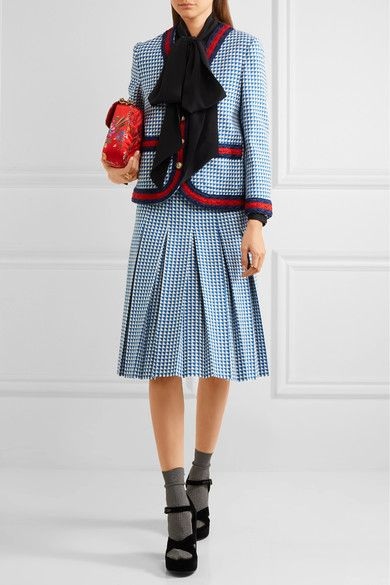 Gucci - Striped Houndstooth Wool-blend Jacket - Blue - IT48