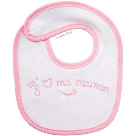 53d66e8aa38e Bavoir naissance en coton brodé J aime ma Maman rose   Babystock ...