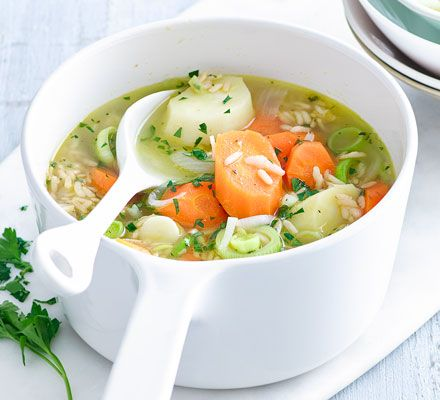 Brown rice makes this vitamin-packed soup a great low-GI option. If you've got leftovers, serve it puréed the next day for a change.