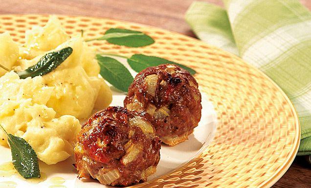 Kartoffelpüree mit Salbeibutter und italienischen Hackbällchen Rezept | tegut...