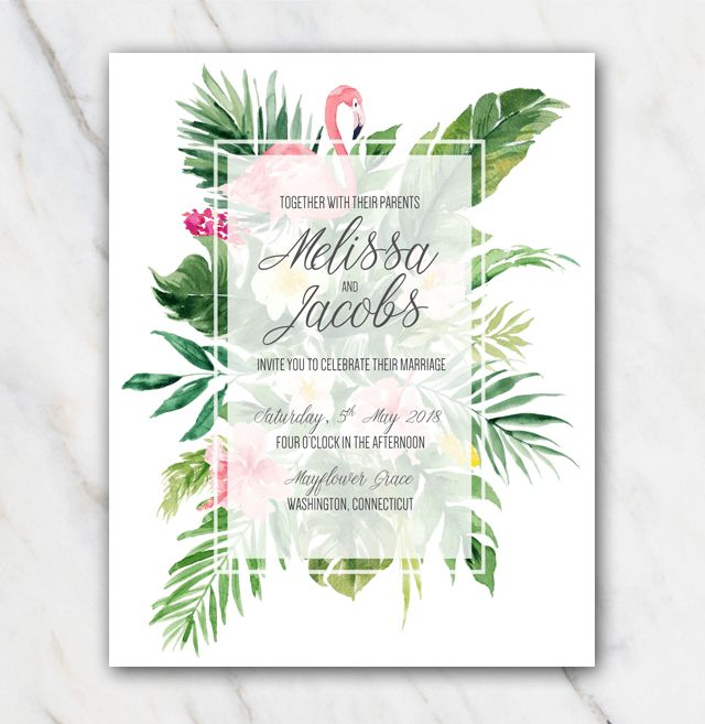 Tropical Flamingo Wedding Invitation Template in Word for FREE!