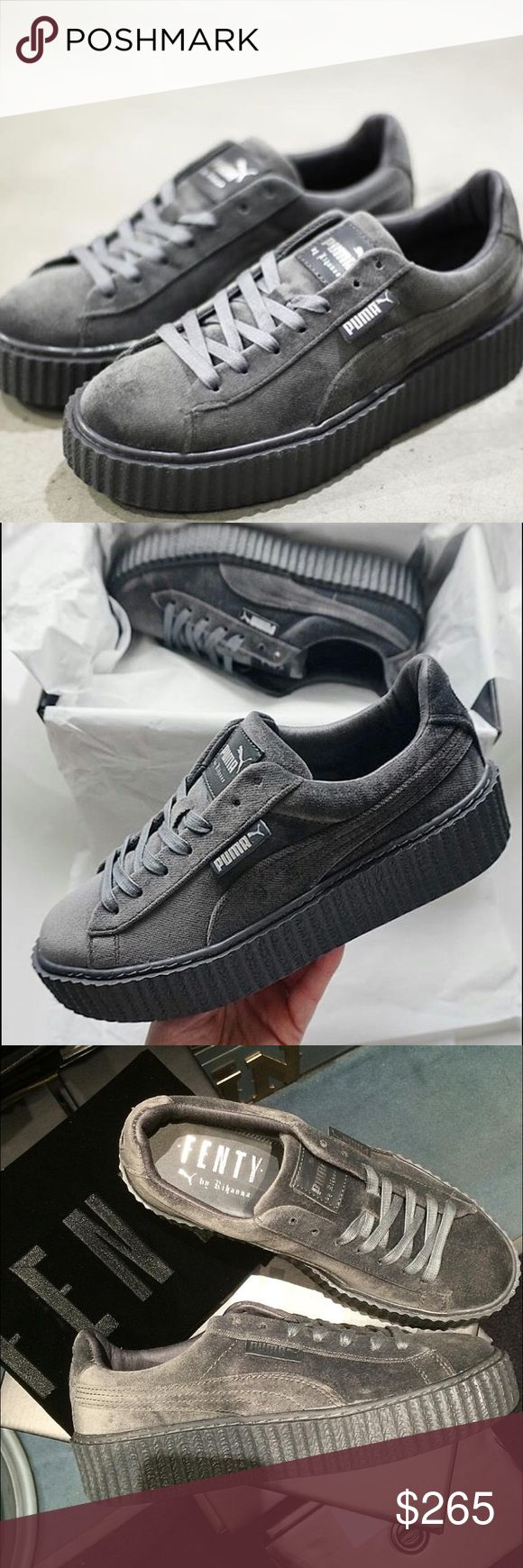 Rihanna's Puma x Fenty Glacier Grey Creepers!!  These shoes dropped on 12/8 and sold out in minutes. The grey pairs are gorgeous, in my opinion they show off the velvet fabric the best. I know the resale prices for these exceed the original sale price (look anywhere), but they are super limited edition. I'm also selling burgundy and black!! Poshmark takes a good chunk out of sales so I'd be happy to sell for less on Ⓜ️. If you have any questions please comment!! Also, I have these now, not…