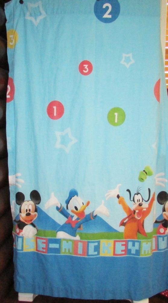 "Disney Mickey Mouse Clubhouse Blue Curtain Panels Set of Two ""Count With Me"""