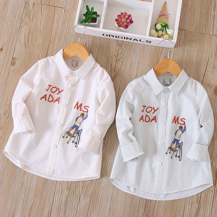 Cartoon Letter Baby Boys Long-sleeve Shirts Kids 3-9Y Striped Cotton Funny Top Boys Clothes Soft All-match Boys Spring Shirt Tee