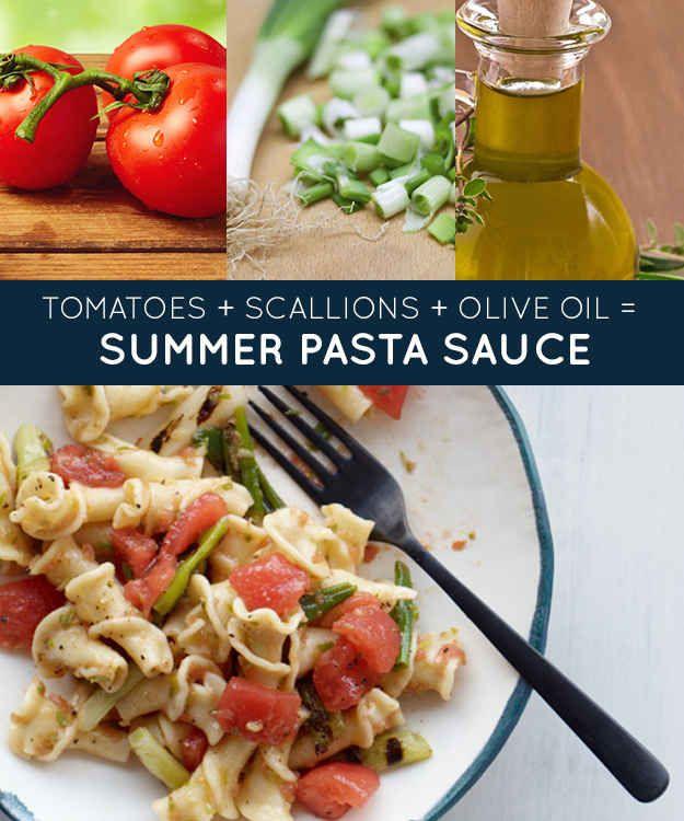 tomatoes + scallions + olive oil = summer pasta sauce