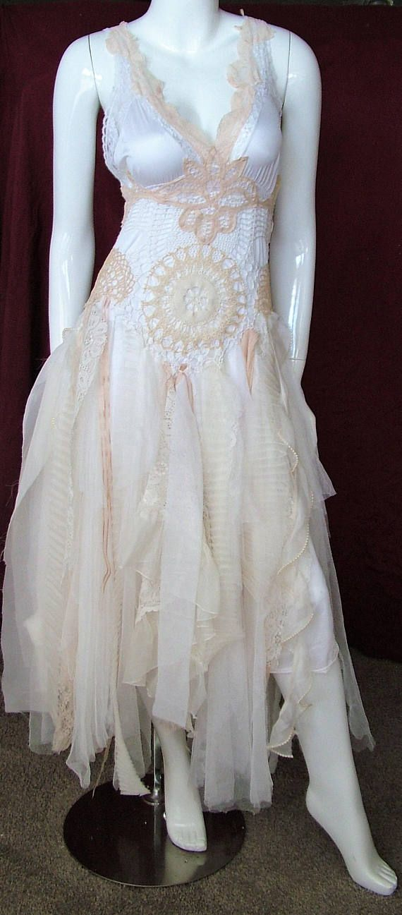Fairy tale tattered wedding dress shabby ragged woodland