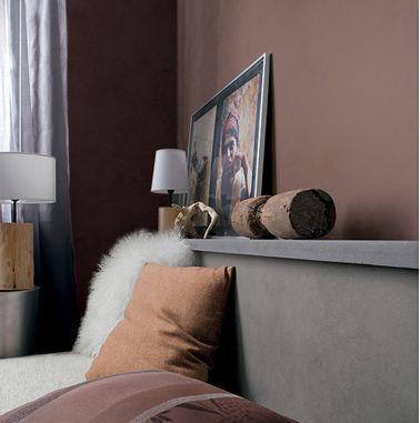 Ambiance Couleur Chambre Cosy De Brun Chocolat Tete De Lit Grise