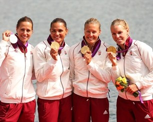 Hungary's golden girls celebrate victory in the Kayak Four (K4) 500m Sprint
