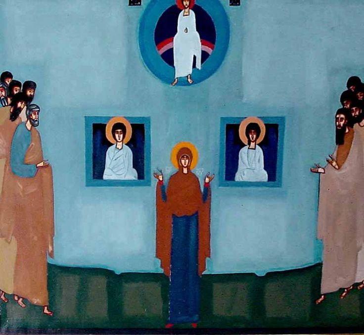 """Jerzy Nowosielski """"Matka Boska Orantka"""" oil on canvas, signed: """"Jerzy Nowosielski/1966"""""""