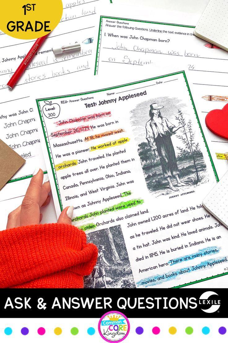 12 Close Reading Passages Lexile Leveled For 1st Grade Ccss Ri 1 1 Includes Passages Questions Anchor Charts First Grade Reading Elementary Reading Grade 1 [ 1104 x 736 Pixel ]