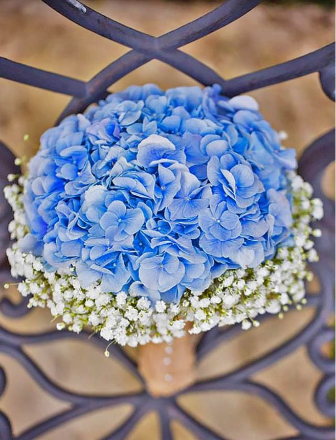 Blue & baby's breath bridesmaid bouquet