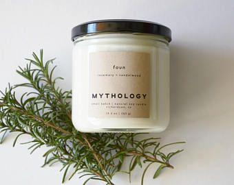 Faun – Rosemary + Sandalwood 12 oz Jar Soy Candle | Rosemary Candle | Sandalwood Candle | Minimalist Candle | Scented Candle | Vegan Candle