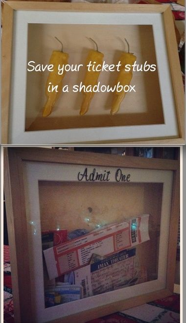 Frugal Decor: Repurpose a shadowbox into an event ticket holder 'Admit One'