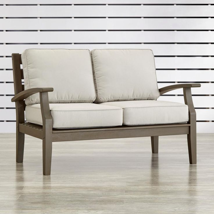 HomeSullivan Verdon Gorge Gray Oiled Wood Outdoor Loveseat with Brown Cushions