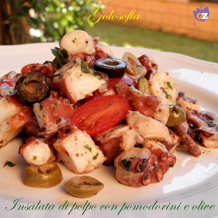Insalata di polpo con pomodorini e olive, gustoso e leggero piatto, perfetto per ritrovare la linea dopo le feste!