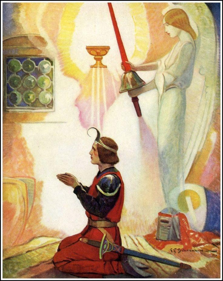 Frank E. Schoonover ~ Galahad Kneeled ~ King Arthur by Henry Frith ~ Garden City Publishing ~ 1932