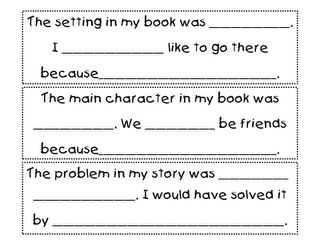 Reading Response worksheet for Daily Five accountability