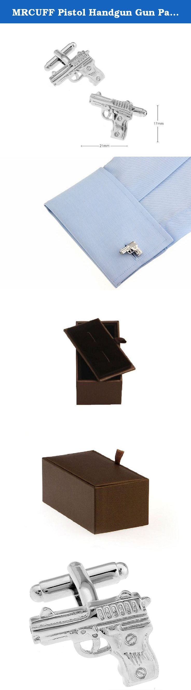 MRCUFF Pistol Handgun Gun Pair Cufflinks in a Presentation Gift Box & Polishing Cloth. Best quality and price for the set with a deluxe presentation gift box. The lid is reversible and can be closed tight and flat for gift giving or storage. It may also be flipped over to display the cuff links on the lid held in place by two elastic bands. Solid feel and long lasting construction so you can buy and wear with confidence.