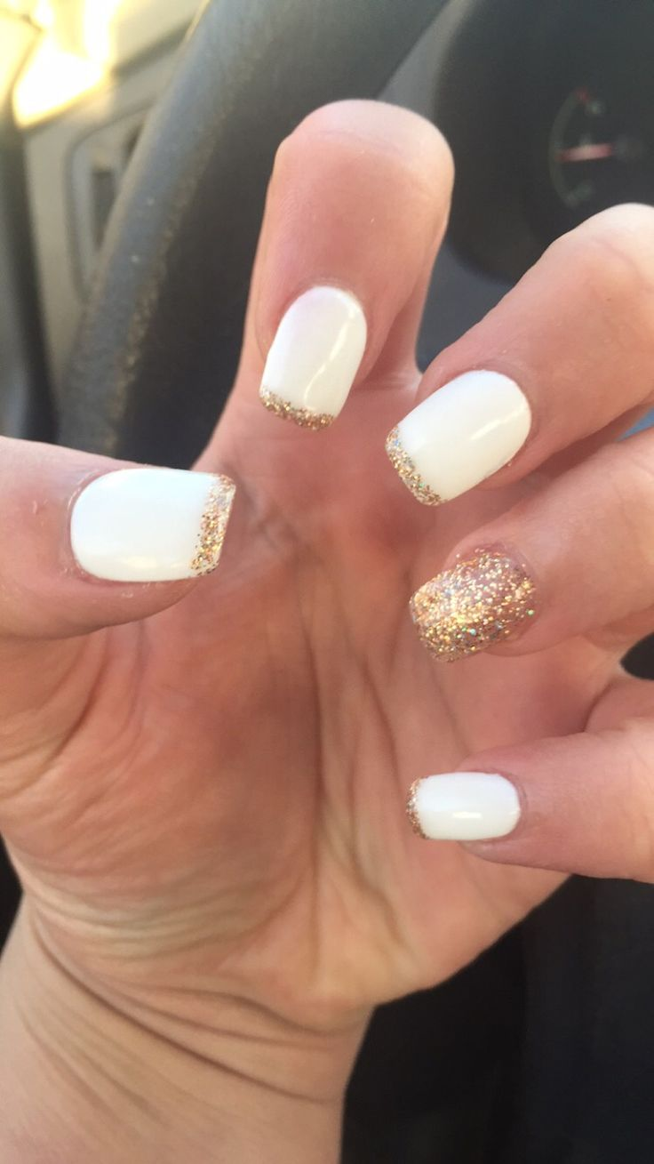 Spring nails #white #gold