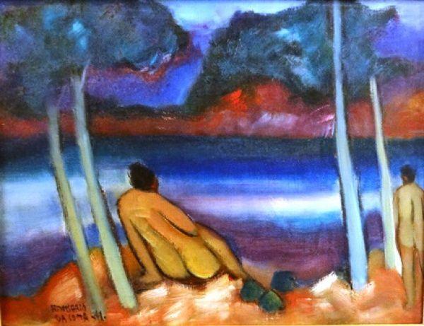 """HUMBERTO DA COSTA (1941) """"Praia de Nudismo"""", o.s.t., 25 X 33 cm, assinado e datado (1978) no"""