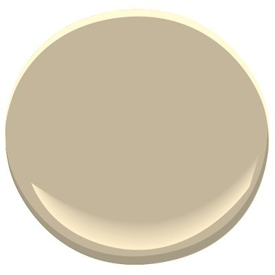 Benjamin Moore Bennington Gray, a favorite neutral, green undertones. Goes beautifully with chatsworth cream and twisted oak path. Also very soothing in a kitchen with linen white cabinets
