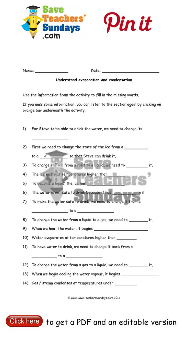 Evaporation and condensation worksheet to go with online activity. Go to http://www.saveteacherssundays.com/science/year-4/371/lesson-2-evaporation-and-condensation/ to download this Evaporation and condensation worksheet to go with online activity. #SaveTeachersSundaysUK
