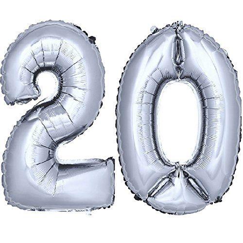DEKOREX ® Ballon gonflable Ballon feuille de 80cm ballon d'hélium Ballon Anniversaire Décoration numéro argent No 20: Un trés beaux et…