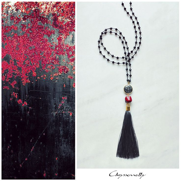 JEWELRY   Chryssomally    Art & Fashion Designer - Boho chic tassel necklace in grey hues with a touch of deep red coral