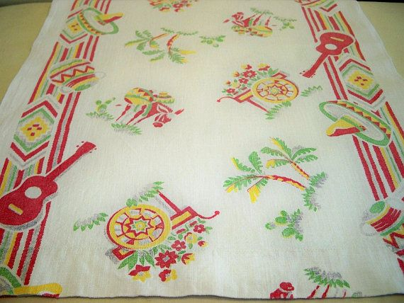 Vintage 1940s Startex Southwestern Tablecloth Runner Mexican Towel Pair by BlackRain4