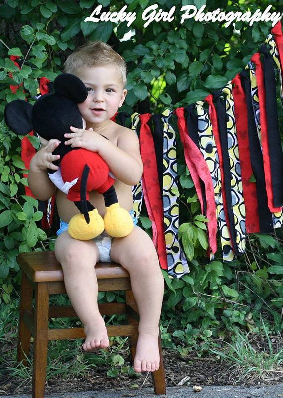 Mickey Mouse Rag Tie Garland Disney Red Yellow by MyourStories, $39.00