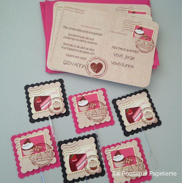 Convite cartão postal menina