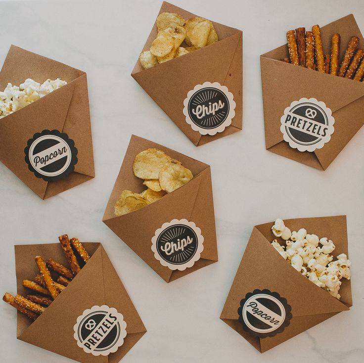 These DIY late-night wedding snacks will be a big hit with your wedding guests on their way home. Green Wedding Shoes made these fun to-go party favors using brown kraft paper and Avery Scallop Round Labels (22836). Personalize and print them in your wedding colors, then just choose your favorite snacks and fill them up. A simply sweet gift your guests will truly appreciate after a long night of dancing!