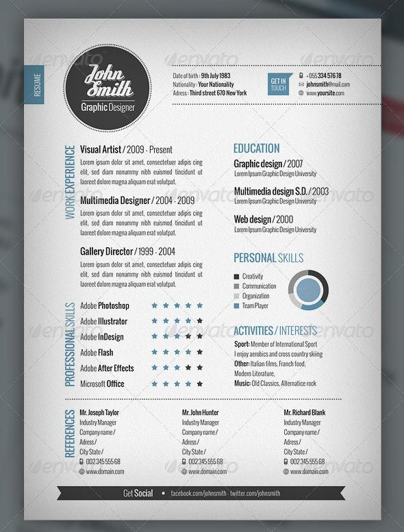 27 Best Cvs Images On Pinterest | Resume Ideas, Resume Design And