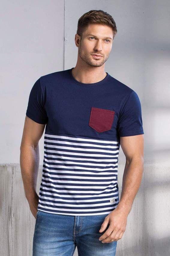 f75807960b6 Camiseta Manga Corta Cuello Redondo Único   Moda masculina en 2019    Camiseta rayas hombre, Camiseta hombre y Poleras para hombre