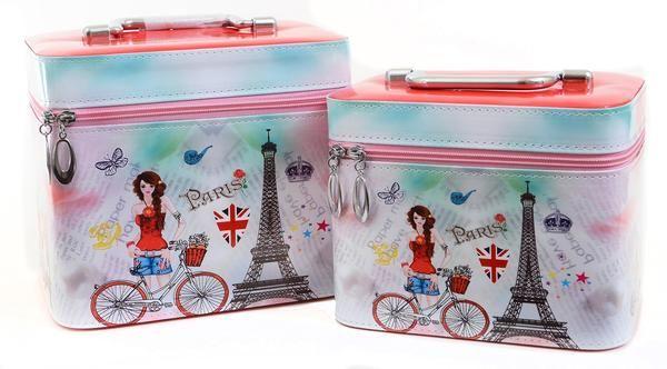 Hard Cosmetic Train Case Make Up Bag Beauty Organizer