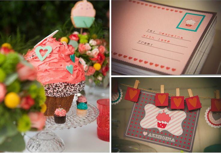 French Patisserie Christening Event @Am Villa In Ekali by De Plan V. Decoration details, big cup cake, printed card postals.