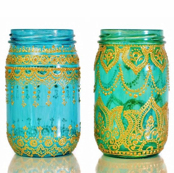 Moroccan Designed Mason Jar Lantern Teal Glass with by LITdecor, $28.00
