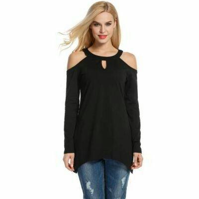 O Neck Cold Shoulder Long Sleeve Solid Swing Blouse Black | pinknee.com