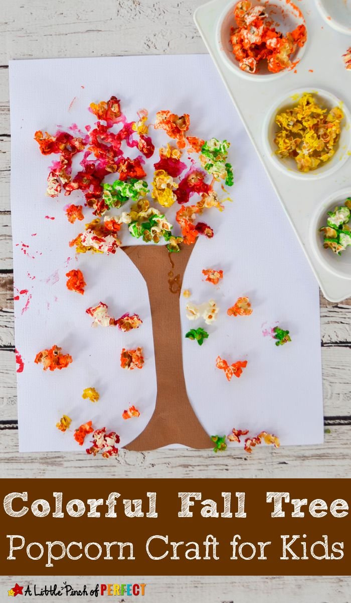 Colorful Fall Tree Popcorn Craft for Kids: An easy craft to make when the leaves…