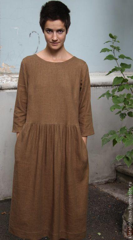 Купить Вещь № 86 - коричневый, однотонный, Широкая юбка, свободное платье, карманы