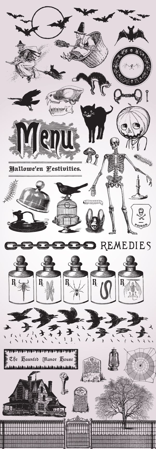 Free Halloween vintage vector set, a very spooky printable for the holiday. | https://www.freevintagevectors.co/single-post/halloween-set