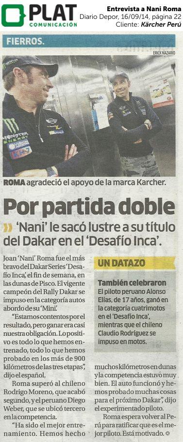 Kärcher: Entrevista al piloto Nani Roma en el diario Depor de Perú (16/09/14)