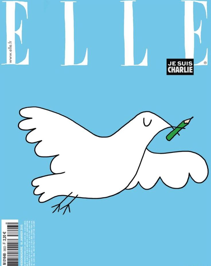 One of the simplest yet most moving responses to #JeSuisCharlie from the Cover of France Elle