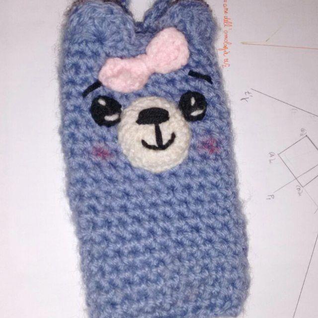 Cel holder.  Crochet #crochet #cel #celholder #cover #celular #handmade #girl