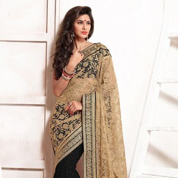 Beige and Black Net and Faux Chiffon Jacquard Saree with Blouse